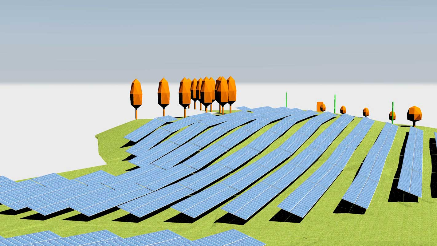 Solar park planning with Helios 3D
