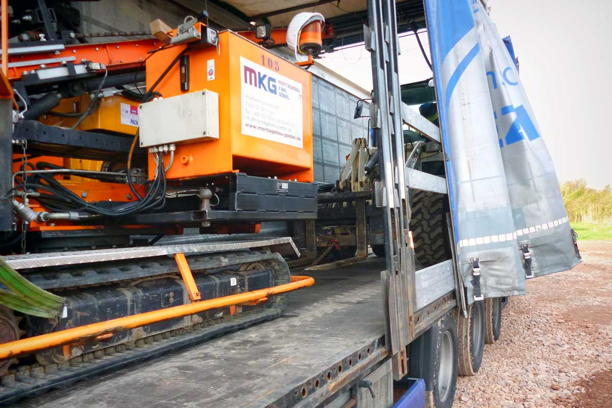 Equipment delivery at the construction site