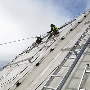 Installation work in a high place